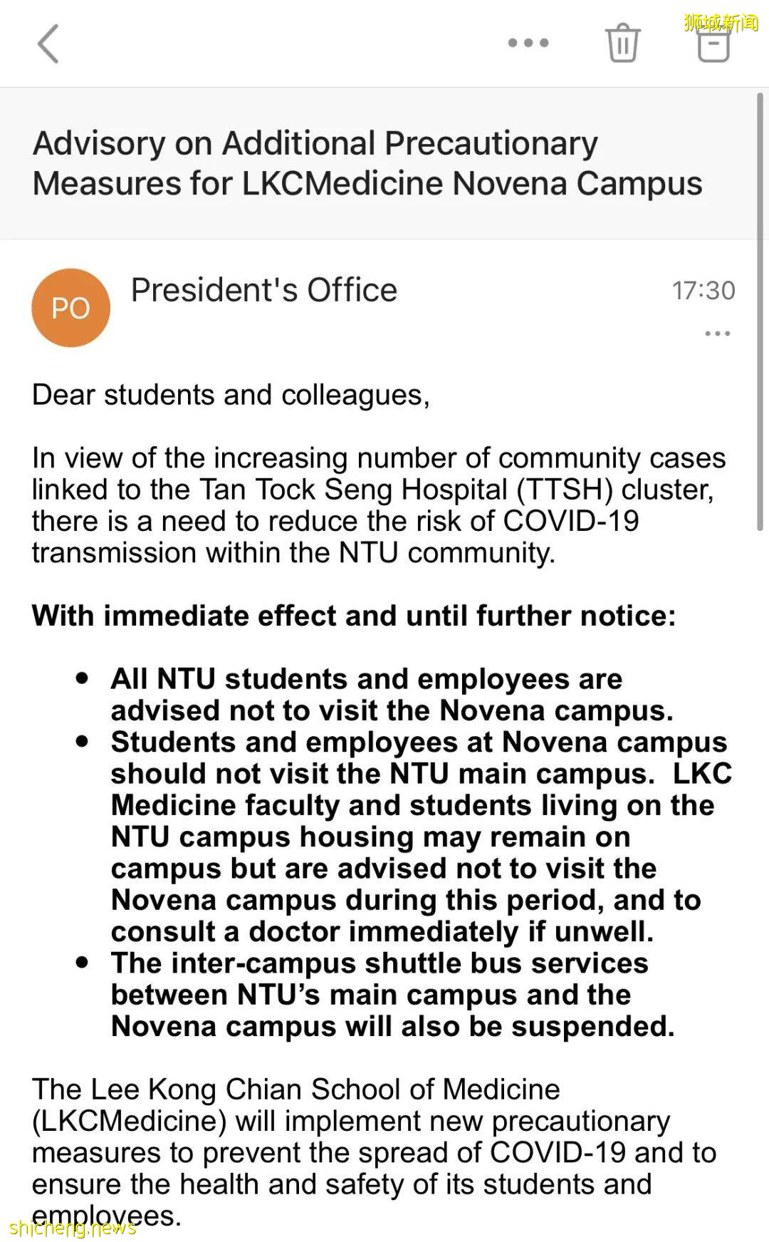 NTU Novena校区高度戒备,穿梭巴士停运,师生居家办公学习
