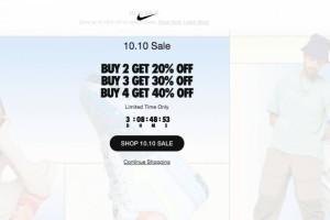Nike 10.10 Sale 双十大促 !超值限时折扣最高40% ,快来选购吧