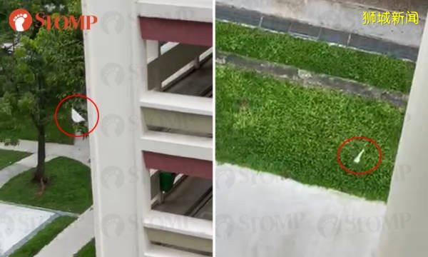顶楼抛铁杵下楼 3中学生恶作剧 被警察捉了