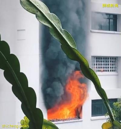 疑充电引发大火 组屋居民紧急疏散