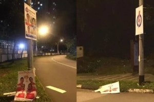 两男涉大选期间损毁竞选海报 今被控