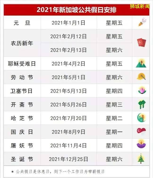 新加坡2021年公共假期详情