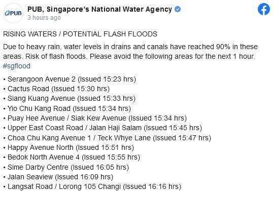 昨天的狂风暴雨! PUB警告可能会有洪水爆发或淹水情况