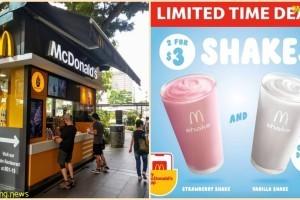 麦当劳推出奶昔促销, 2杯只要$3! 还有香草、巧克力和草莓口味