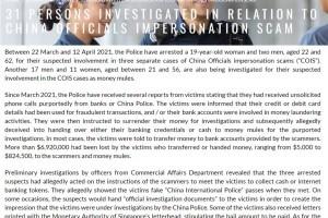"""31人涉及冒充""""中国公安"""",在新加坡诈骗超过690万新币"""