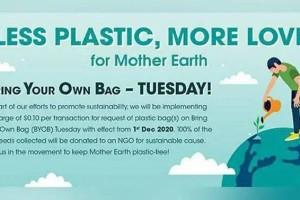 新加坡全岛屈臣氏从12月起,每周二将开展塑料袋收费计划